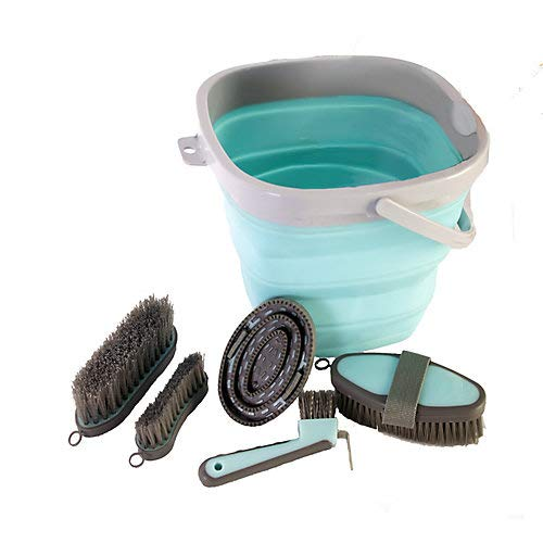 Aime Imports Collapsible Grooming Bucket Set Turquoise