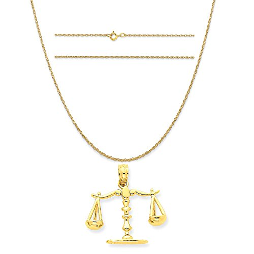 Scales 14k (14k Yellow Gold 3-D Moveable Scales Of Justice Pendant on 14K Yellow Gold Rope Chain Necklace, 18