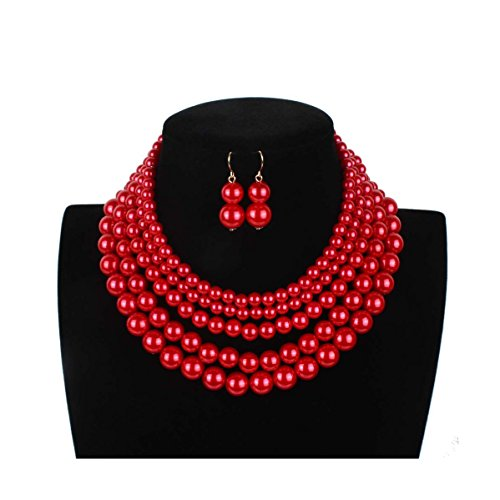 Lanue Women Elegant Jewelry Set Multi Strand 5 Layer Pearl Bead Cluster Collar Bib Choker Necklace and Earrings Suit (Red)