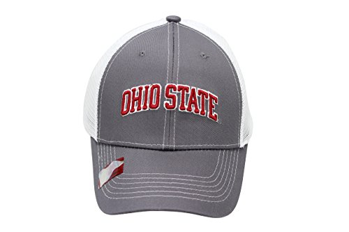 State Hat Cap (NCAA Collegiate Headwear Men's Hat Ohio State Buckeyes Embroidered Grey Ghost Mesh Back Cap)