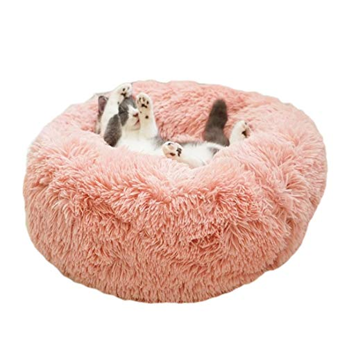 ALLNEO Original Cat and Dog Bed Luxury Shag Fuax Fur Donut Cuddler Round Donut Dog Beds Indoor Pillow Cuddler for Medium Small Dogs (S-20208inch, Pink)