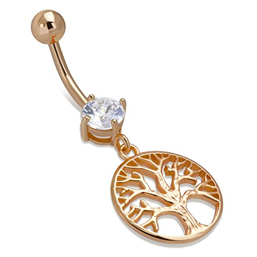 Charm Belly Ring Rings (1.6 MM Rose Gold Stainless Steel Tree Of Life Cubic Zirconia Medallion Charm Dangle Belly Button Navel Ring)