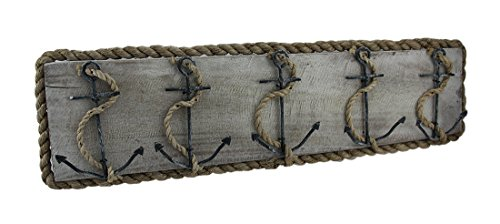 Wood & Metal Decorative Wall Hooks Distressed Nautical Anchor And Rope Wooden Wall Hook Hanging 26 Inch 26 X 7 X 1.5 Inches Ivory - Distressed White Metal Towel Rack