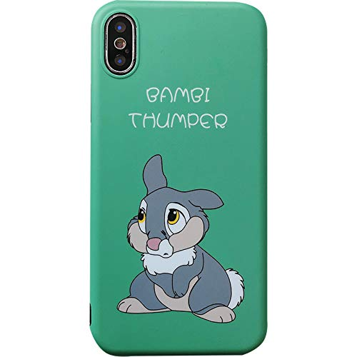 Ultra Slim Soft TPU Thumper Rabbit Case for iPhone X iPhoneX Sleek Light Shockproof Protective Disney Cartoon Bambi Green Bunny Cute Chic Lovely Cool Fairy Girls Teens Kids Boys ()