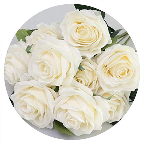 (Strawberries Cake Artificial Silk 1 Bunch French Rose Floral Bouquet Fake Flower Arrange Table Daisy Wedding Flowers Decor Party Accessory Flores,Beige)