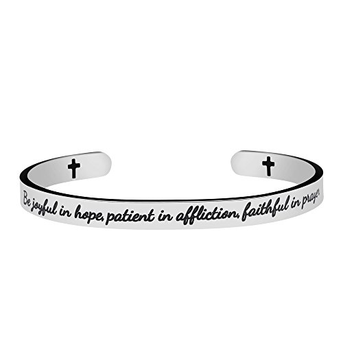 Christian Jewelry for Teens Inspirational Bracelets Bible Verse Cuff Bangle Gift for Women Carved Be Joyful in Hope Patient in Affiction Faithful in Prayer
