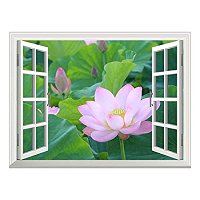 Majestic Portrait, Removable Wall Sticker Wall Mural Lotus Flower Bloom in Summer Creative Window View Wall Decor, Made With Top Quality