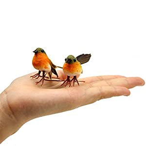 Yolococa Very Cute Artificial Feather Robin Bird Christmas Tree Decoration Craft 6