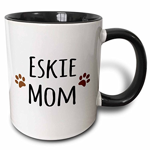 "3dRose 154116_4""Eskie Mom Mug, 11 oz, Black"