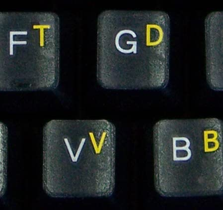 COLEMAK KEYBOARD STICKER WITH YELLOW LETTERING TRANSPARENT BACKGROUND
