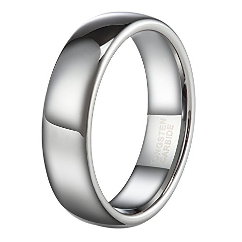 6mm Silver Tungsten Carbide Ring for Men Women Wedding Band High Polished Shiny Domed Comfort Fit Size - Carbide Tungsten Ring Polished