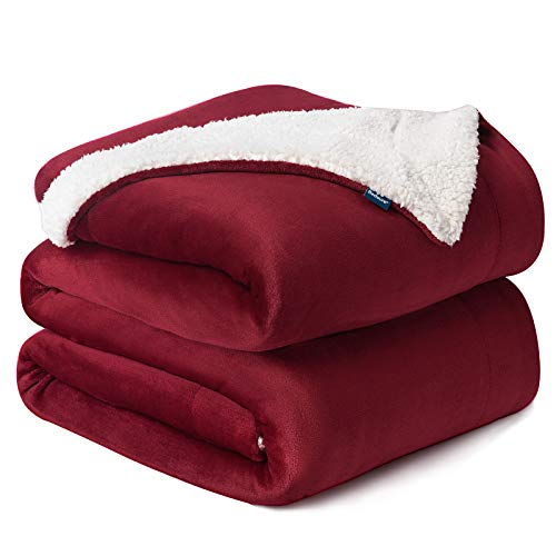 BEDSURE Sherpa Fleece Blanket Queen Size Red Burgundy Wine Maroon Plush Blanket Fuzzy Soft Blanket Microfiber
