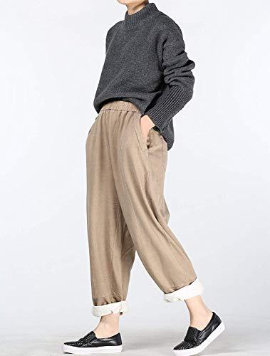 Leichter Unita Kaffee Tasche Pantaloni Chic Elastico In Donna Hx Ampi Con Tinta Fashion Ragazza Da Casual Due Cotone Harem UqwqOT4