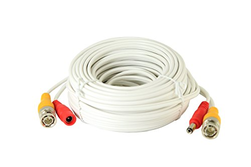 InstallerCCTV 60ft All-in-One Video HD-TVI HD-CVI AHD Analog 1080p Premade Cable for CCTV Security Cameras - White