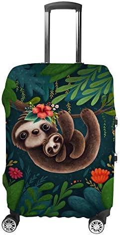 スーツケースカバー トラベルケース 荷物カバー 弾性素材 傷を防ぐ ほこりや汚れを防ぐ 個性 出張 男性と女性かわいいナマケモノの母と子