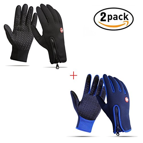 Screen Touch Gloves for Men & Women, Waterproof Cycling Gloves Anti-slip Texting Gloves Warm Winter Gloves for Running Driving Motorcycle Skiing Snowboard (2 Pack(black+blue), Medium)