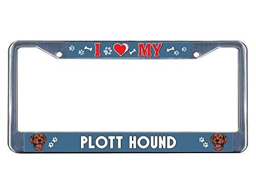Plott Hound Dog I Heart Metal License Plate Tag Holder Metal Frame Aluminum Frame Tag Holder 12in x 6in