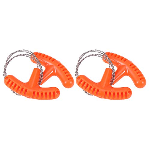 LIOOBO 2pcs Mini Wire Saw Emergency Camping Hunting Survival Tool Chain (Orange)
