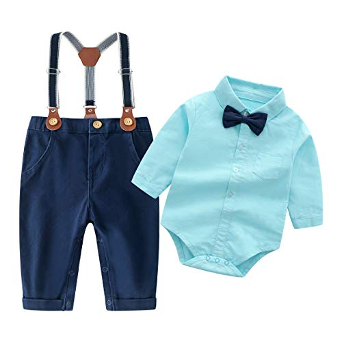 Shirt Bib Pants (Baby Boys Gentleman Outfits Suits, Infant Long Sleeve Shirt+Bib Pants+Bow Tie Overalls Clothes Set)
