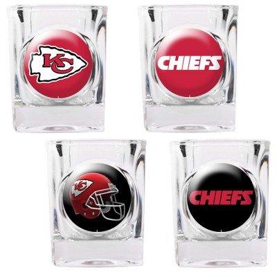 Kansas City Chiefs - 4 Piece Square Shot Glass Set w/Individual Logos