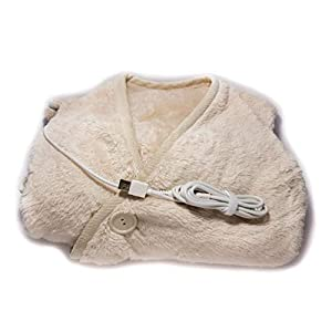 THERMO GEAR Thermogear Portable Size USB Powered Microfiber Electric Heated Shawl, Microfleece Heating Lap and Shoulder Blanket, Warmest Snuggle Microplush Material (Cream)