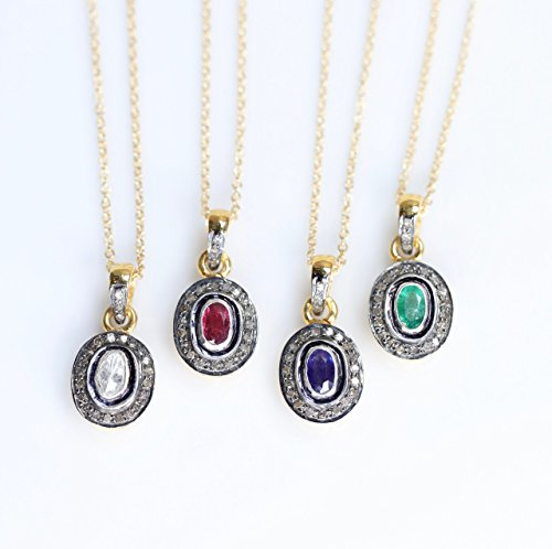 ire Oval Pendant Necklace Rose Cut Pave Diamond Sterling Silver Gold - 16
