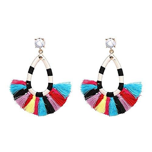 Women's Beaded Tassel Earrings Long Fringe Drop Bohemian Earings Dangle 7 Colors (Colorful)