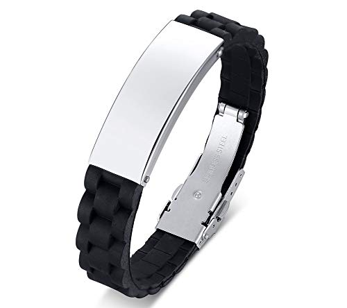 Cool Silicone Stainless Steel Business Watch Band Design Wristband Bangle Bracelet for Men Boys,Sliver