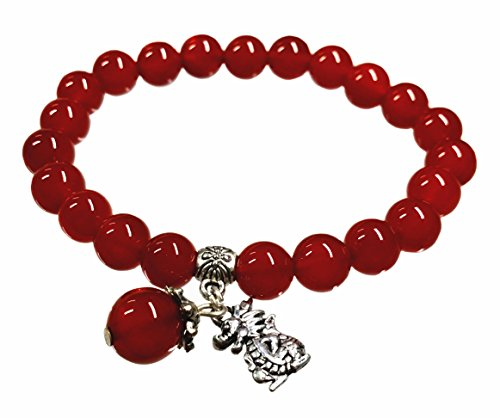 Agate Handmade Red (Feng Shui Handmade Chinese Zodiac Red Agate Beads Bracelet and a Gift Pounch with Betterdecor Logo Printed on It (DRAGON))