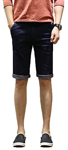 Plaid&Plain Men's Slim Fit Denim Shorts Skinny Jeans Shorts With Roll Up Cuff Blue 31