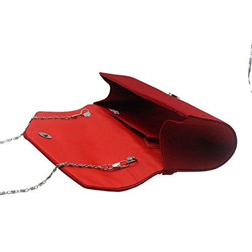 Violet Soirée Froncé Strassé Pochette Pour Main de Style Baguette Sac Enveloppe Rouge Femme a Rabat xvOvwzqX1