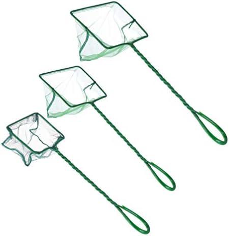 Balacoo 3ピース釣りネット魚ランディングネット釣り道具アクセサリー釣りツール(グリーン)