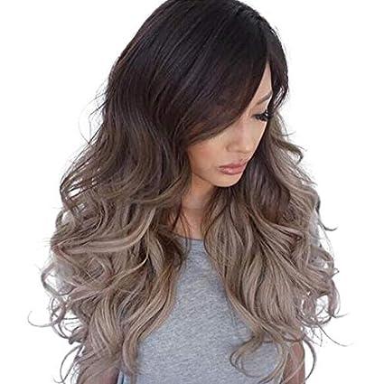 Amazon Com Alexsix Women Wavy Wig Mixed Color Big Curl Natural
