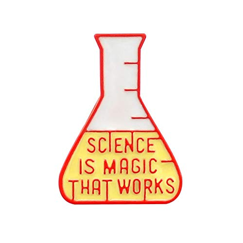(856store The Latest Magic Scientific Chemical Experiment Test Bottle Brooch Pin Denim Lapel Badge Red)