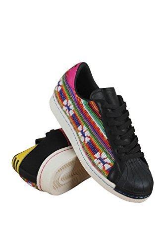 [Adidas SUPERSTAR 80s PIONEERS PHARREL mens fashion-sneakers B25965_9.5 - CBLACK,GOLDMT,FTWWHT] (80s Male Fashion)
