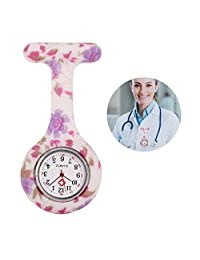 Fashion Floral Silicone Nurse Doctor Clip-on Tunic Brooch Fob Pin Quartz Pendant Pocket Watch #17