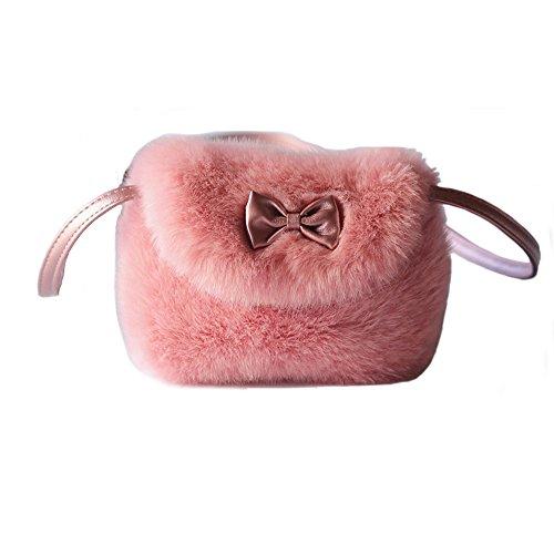 - Pinky Family Kids' Cute Hairy Handbag Girls Shoulder Bag Baby Toddler Crossbody Purse Messenger Bag Bowknot (Pink purple)