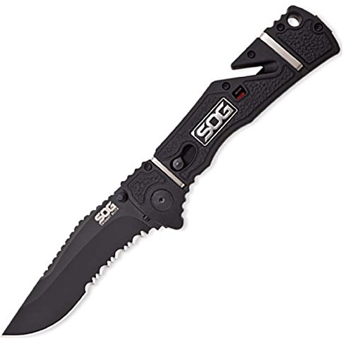 - SOG Trident Elite Folding Pocket Knife, Black 3.7