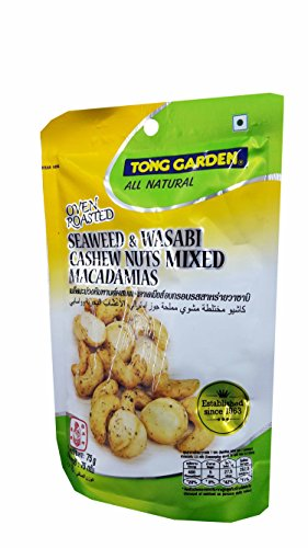 Wasabi Cleansing Green (3 Packs of Oven Roasted Seaweed & Wasabi Cashew Nuts Mixed Macadamias by Tong Garden. good source of protein. (75 g/ pack)...)
