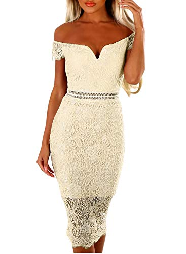 Womens Floral Lace Short Sleeve Cocktail Tube Dress Boat Neck Off Shoulder Knee Length Elegant Pencil Dress Apricot M