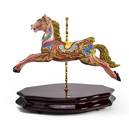 18th Century Green and Pink Carousel Horse Miniature Replica Musical Figurine - Frosty The Snowman - Swiss