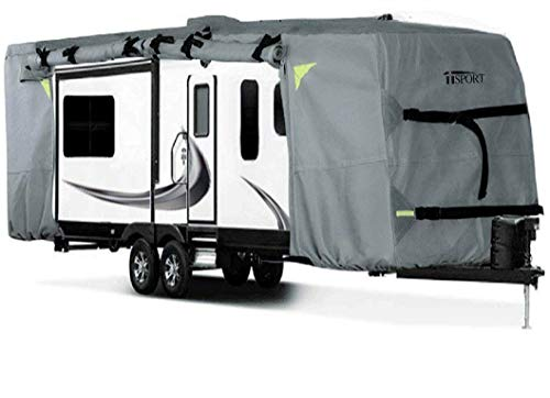 iiSPORT Y5-24-27 Grey Camper Fits 24' to 27' RVs Deluxe Travel Trailer Cover 24-27 ft ()