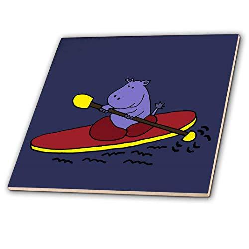 3dRose ct_200477_2 Funny Purple Hippo Kayaking in Red Kayak Ceramic Tile, 6
