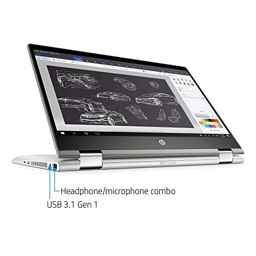 HP Pavilion X360 14-Inch Convertible Laptop, Intel Core I5-8265U Processor, 8 GB RAM, 1 TB Hard Drive & 128 GB Solid-State Drive, Windows 10 Home (14-cd1042nr, Mineral Silver) (Renewed)