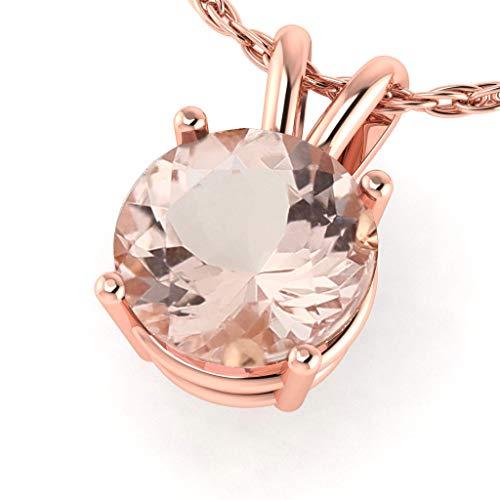 - GNG 10k Rose Gold Fancy Color Morganite Solitaire Pendant Necklace, 18