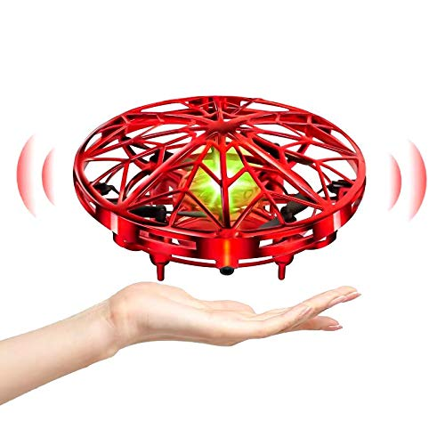 UTTORA UFO Mini Drone for Kids Hand Control Helicopter Quadcopter Infrared Induction Rechargeable Flying Aircraft Toys Games for 5 6 7 8 9 10 Girls Boys Indoor Outdoor