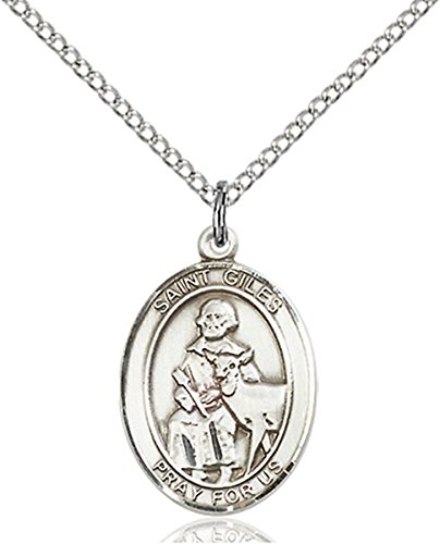 Sterling Silver Saint Giles Medal Pendant, 3/4 Inch Giles Medal