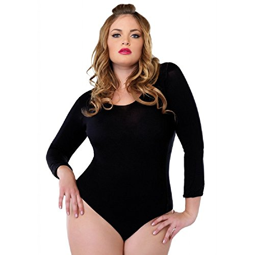 Leg Avenue Women's Plus-Size Plus Size Long Sleeve Opaque Bodysuit, White