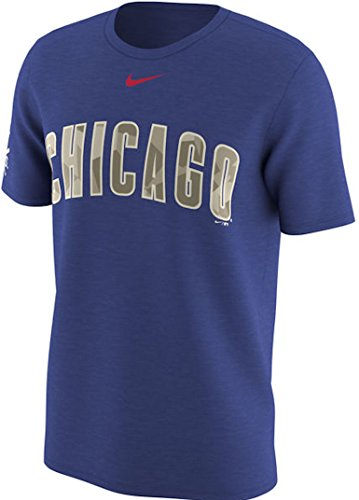 Chicago Cubs Nike Memorial Day Digital Camo Wordmark e bandiera T-Shirt - Royal (Large)