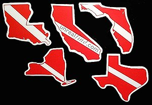 State Scuba Diving Bumper Stickers Dive Diver Divers Car Truck Sticker Louisiana California New York Texas Florida Dive Flag , (Diver Scuba Diving Bumper Sticker)